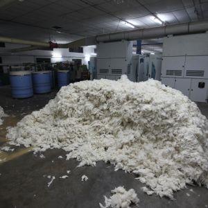 Uppackat bomullsråmaterial i närbild.