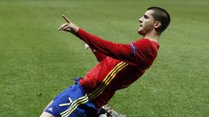 Alvaro Morata firar sitt 1–0-mål mot Turkiet.