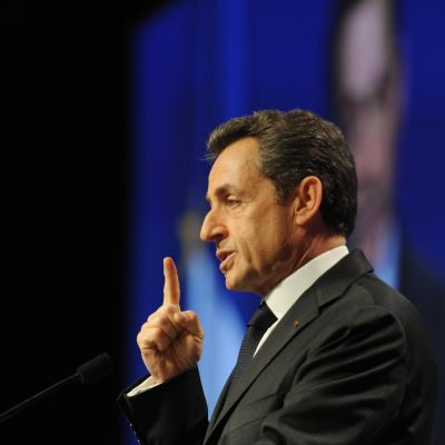 Nicolas Sarkozy vid ett partimöte i Bordeaux 03.03.12