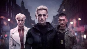 De tre huvudpersonerna i Bedrägeriet, säsong 3, står på en gata i en mörk stad.