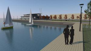 En skiss över ett hamnområde där en restaurang och några segelbåtar syns.