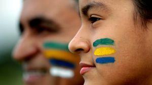 Anhängare till Brasiliens president Jair Bolsonaro.