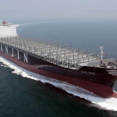 Containerfartyget Hanjin Korea på sin jungfrutur i juni 2010.