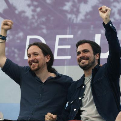 Dynamisk duo på vänsterkanten, Pablo Iglesias (till vänster) och Alberto Garzon.