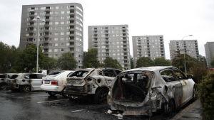 Utbrunna bilar i Göteborgsområdet