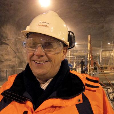 Matti Kokkinen vid bygget av västmetron.