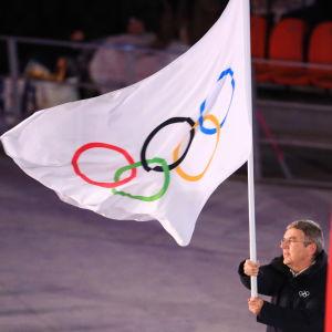 IOK: ordförande Thomas Bach under avslutningsceremonin i Pyeongchang.