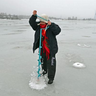 Sari Snellman borrar upp ett hål i isen.