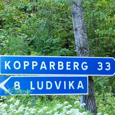 En vägskylt för den svenska staden Ludvika i Dalarnas län.