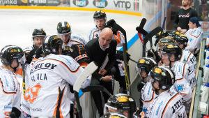 Petri Mattila coachar sina spelare i KooKoo.