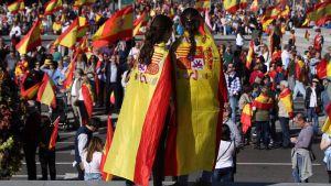 Demonstrationer i Madrid för ett enat Spanien.