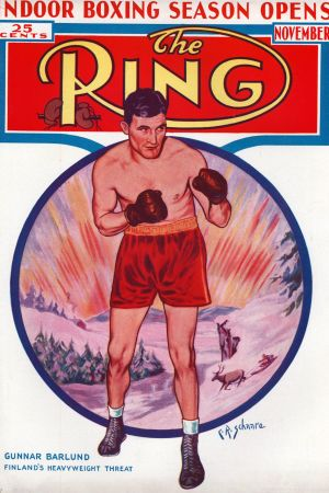 Gunnar Bärlund på The Rings pärm i november 1938.