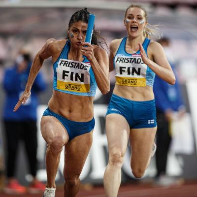 I Sverigekampen för en vecka sedan var JKU:s Nooralotta Neziri och Anniina Kortetmaa med om att springa hem segern i den korta stafetten.