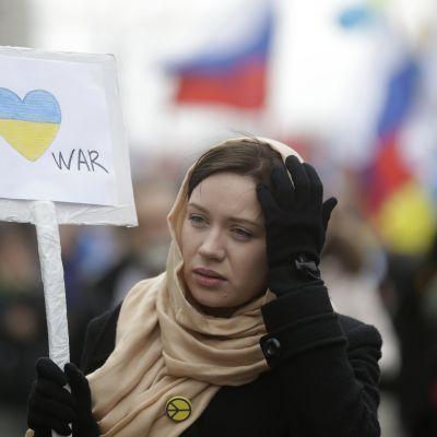 Demonstration i Moskva mot krig på krim