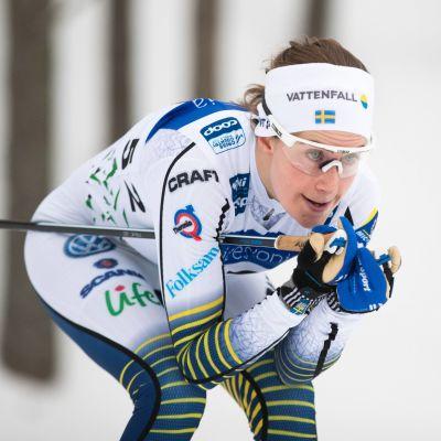 Ebba Andersson i skidspåret.
