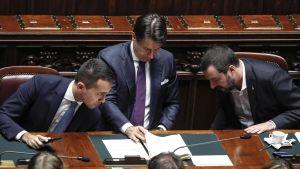 Italiens premiärminister Giuseppe Conte omgiven av Matteo Salvini och Luigi Di Maio (tv)