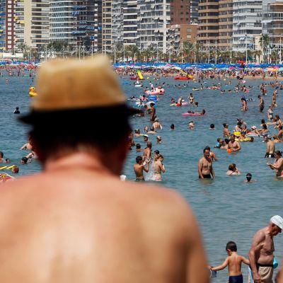 Strand i Benidorm, Spanien.