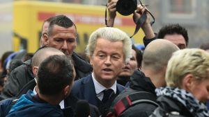 Det nederländska högerpopulistiska Frihetspartiets ordförande Geert Wilders inledde sin valkampanj inför parlamentsvalet i staden Spijkenisse utanför Rotterdam den 18 februari 2016.