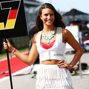 Grid girl vid USA:s GP 2016.