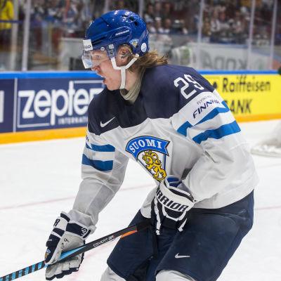Ishockeyspelare dribblar med puck.