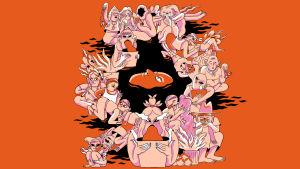 En illustration över en drömsk bild med människor som spyr och gråter.