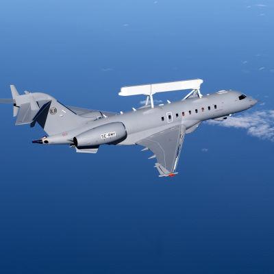 Ett Bombardier-plan som har försetts med övervakningsystemet Globaleye.