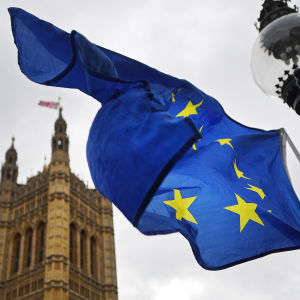 Storbritanniens parlament och EU-flaggan