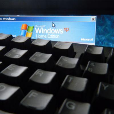 Bild av skärm av dator med windows xp.