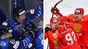 Finländska och ryska spelare i ishockey-VM 2019.