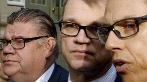 Timo Soini, Juha Sipilä och Alexander Stubb på Villa Bjälbo.
