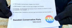 En flygbladstext på engelska där Svenska Moderaterna i Tallinn säger att Sverige kan ta emot Estlands homosexuella och föreslår att Estland bjuder in Sveriges homofober.