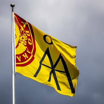 En gul flagga med Åbo Akademis logo.