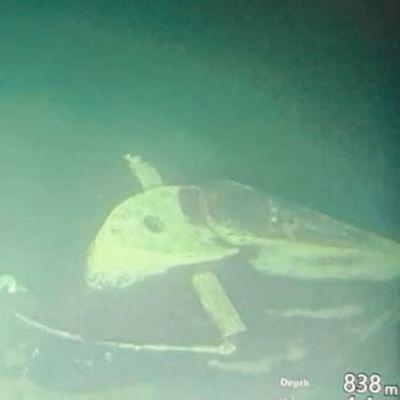 Undervattensbild av den sjunkna indonesiska ubåt som försvann under en övning den 21 april 2021.