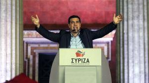 Partiledaren Alexis Tsipras inför Syrizas anhängare under valkvällen 25.1.2015