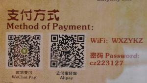 papper med kinesisk text och qr-koder. På engelska står det betalningsmetod.
