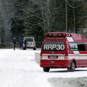 Brottsplatsen i Korsnäs är avspärrad.