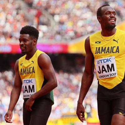 Michael Campbell och Usain Bolt, VM 2017.
