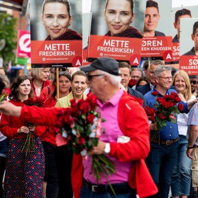 Socialdemokraten Mette Frederiksen under valkampanjen