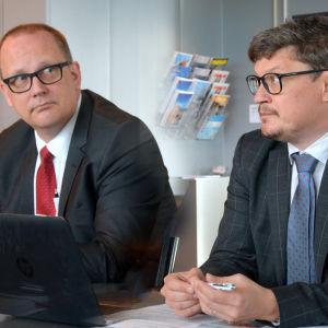 Vasas stadsdirektör Tomas Häyry och Korsholms kommundirektör Rurik Ahlberg. Bilden är ett montage.