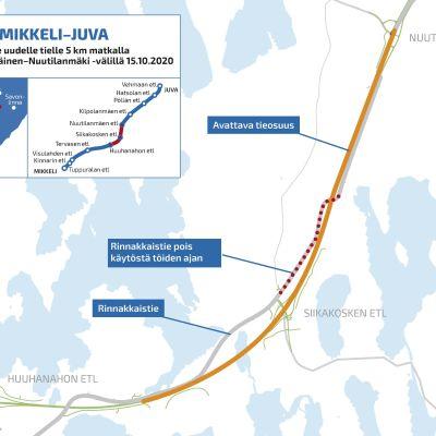 Kartta Mikkelin ja Juvan välillä avattavasta uudesta viiden kilometrin tieosuudesta.