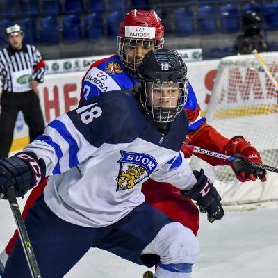 Finland - Ryssland match i junior-VM i Slovakien 22 april 2017