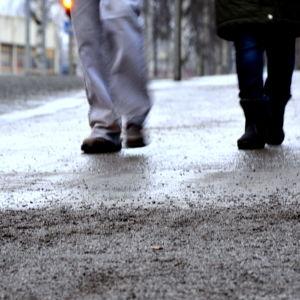 Sandig trottoar