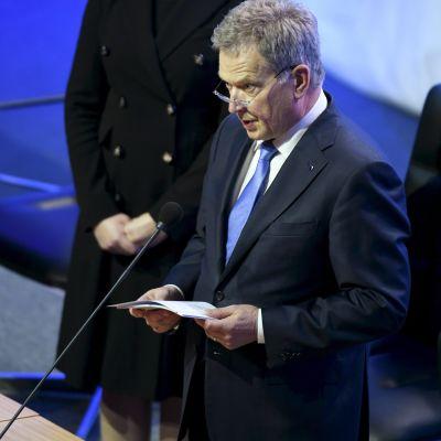 President Sauli Niinistö i riksdagen den 2 februari 2017.