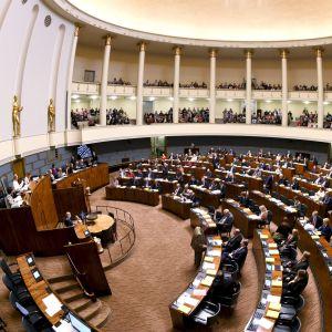 Riksdagens plenisal i oktober 2018.