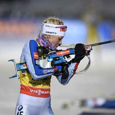 Kaisa Mäkäräinen var tia i sprinten i Kontiolahti.