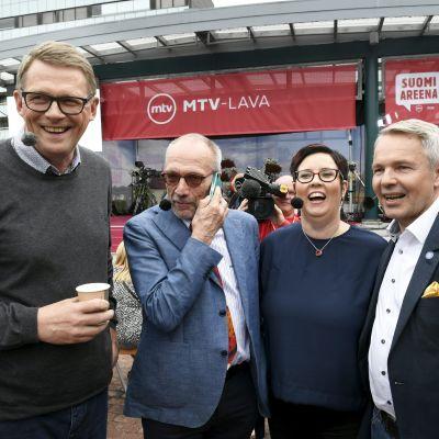 Matti Vanhanen, Nils Torvalds, Merja Kyllönen och Pekka Haavisto