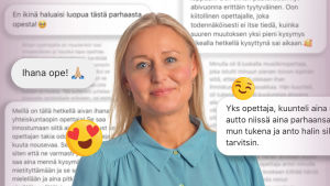 Vaaleahiuksinen nainen katsoo kameraa ja hymyilee, taustalla on tekstiä viesteistä, joissa kehutaan opettajia