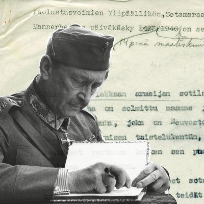 Mannerheim 1941 (SA-bild) och ett fotografi av den maskinskrivna texten Mannerheims dagorder (Yle) Bildcollage