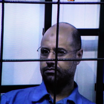 Muammar Gaddafis son Saif al-Islam i april 2014.