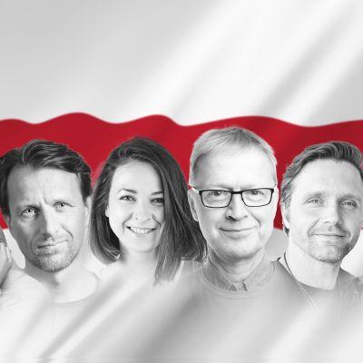 Svartvita foton av sju skådespelare framför Belarus rödvita flagga i bakgrunden.